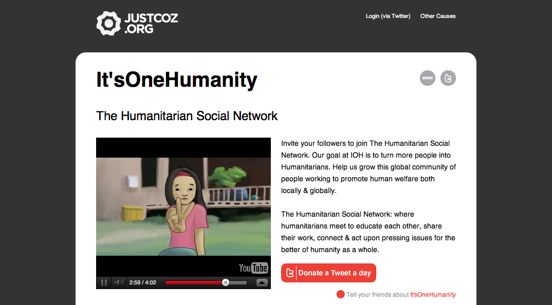 JustCoz.org: Donate a Tweet a Day!